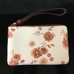 Coach Leather Small Wristlet, White and Pinot